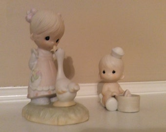 """Two Precious Moments Cute Figurines, """"Make a Joyful Noise"""" & """"I Would Be Sunk Without You""""."""