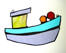 STAINED GLASS BOAT - Handmade - Copper Foil - Fishing Boat - Beach Art