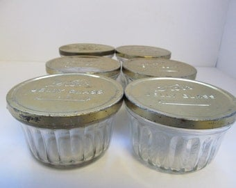 6 Vintage Kerr Jelly Jars with Flat Brass Colored Tin Lids