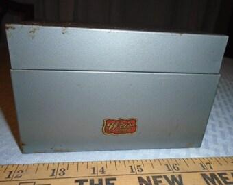 Old Weis Storage Box / Index card box / Recipe box / Tool or parts box / Storage Tin /