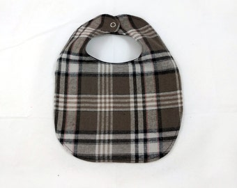 Plaid Baby Bib - Brown Plaid Bib - Baby Bib - Little Man - Dribble Bib - First Birthday Gift - Unique Baby Shower Gift - Hipster Baby Bib