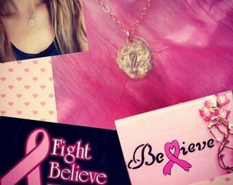 Breast cancer awareness 14kt Gold fill or sterling