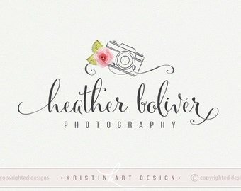 Camera logo, Photography logo design, Watercolor flower, Vintage logo, Premade watermark 493