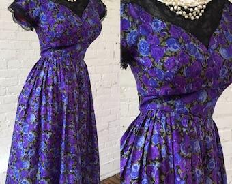 Carol Craig Floral 1950s Blue and Purple Dress
