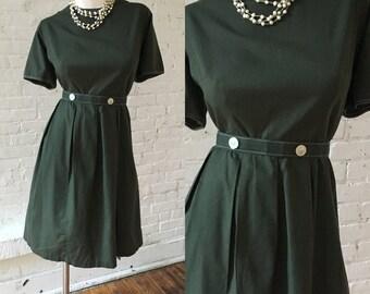 1950s Hunter Green Dress