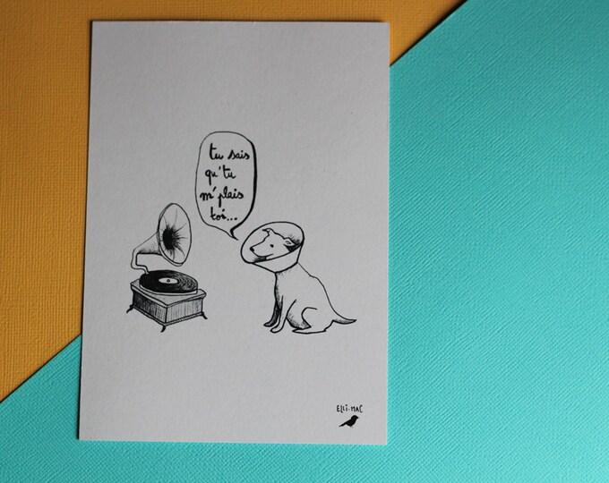 Illustrated postcard - the declaration of love of the gramophone dog - black & white illustration