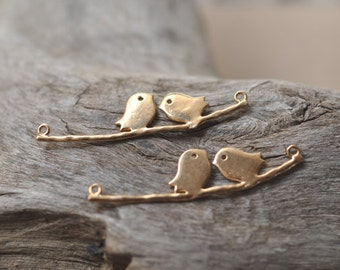 2 tiny bird on a flower branch, sweet baby bird on branch connectors for jewelry making, metal findings P4653