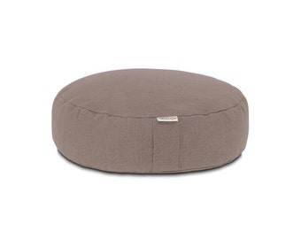 Round Meditation Yoga Pillow with buckwheat hull filling (Gray)