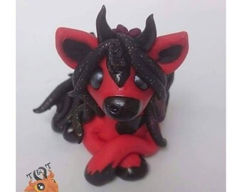 Polymer Clay Pegacorn | Demon Flying Unicorn | MADE TO ORDER
