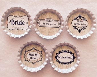 Customized Set of 5 Bridal Party Bottle Cap Magnets