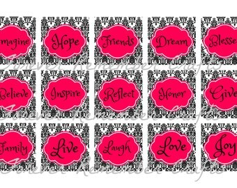 INSTANT DOWNLOAD Pink Damask Inspirational Sayings  1 Inch Square Image Sheet *Digital Image* 4x6 Sheet With 15 Images