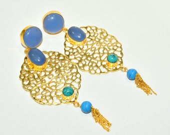 Blue Chalcedony & Turquoise Cabochon Earrings, Handmade Processed Gemstone Brass Earrings, Designer Gold Plated Dangle Earrings