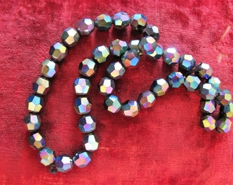 """Vintage Glass Navy Faceted AB beads, 44 beads for Jewelry Making, Gorgeous """"Fire"""" 4.5 cm beads"""