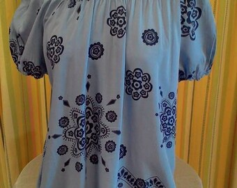 short sleeve with blue flowers