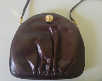 Vintage, Chocolate Brown Leather Handbag with Gold Tone Accents
