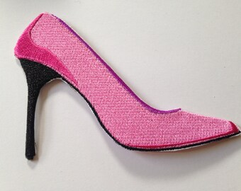 Pink Stiletto Iron on Patch