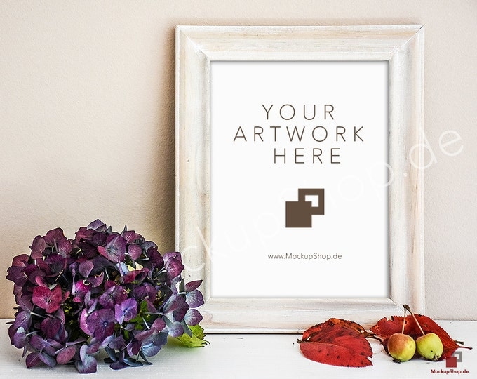 8x10 AUTUMN FRAME MOCKUP // Scroll hydrangea with autumnal and small apples / Empty Frame Mockup Autumn // Frame Mockup // Autumn Wood Frame