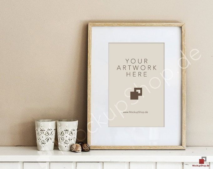 8x12 NORDICSTYLE WOOD FRAME Mockup // two candle lights // scandinavian design // nordic design  // shabby frame mockup style / Mockup Frame