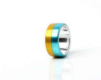 Double color ring, ukrainien ring, patriot ring, yellow and blue ring, aluminium ring, gift idea for man,