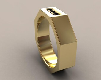 White Gold 6mm Mens Square Wedding Band 14kt By