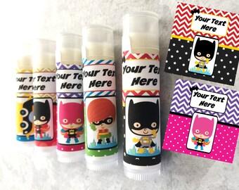 Superhero Party Favors - Set of 5 - Superhero Theme - Customized Lip Balm - Kids Lip Balm - Free Customization - Lip Balm - Superhero Party