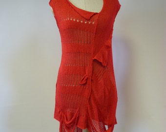 Irregular transparent red cotton tunic, M size. Only one sample. Perfect for Summer.