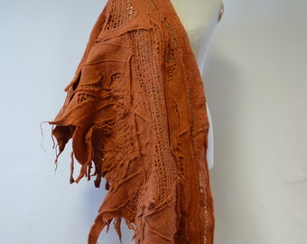 Amaizng  boho orange shawl.  Made of felt. One-of-a-kind.