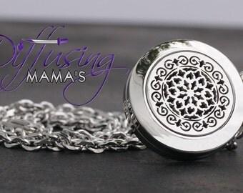 Essential Oil Diffuser Necklace - The Moroccan (20MM) Silver - E2