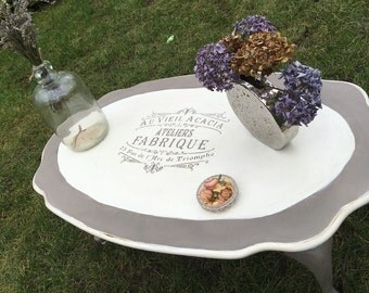 Shabby Chic Coffee table, vintage table with stencil, wooden table, living room table