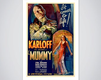 The Mummy, Vintage Movie Poster, Boris Karloff Horror Film Print 18x24 inch