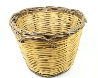 """Old Round Basket 12"""" With Handles Handmade Earthy Earth Woven Medium Large Decorative Decor Primitive Yellow Brown Color"""