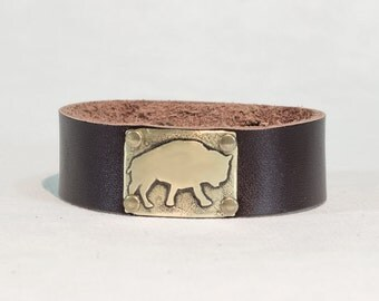 """Bison Leather Cuff Bracelet- one of a kind , etched bison on 3/4"""" leather cuff. For guys and gals"""