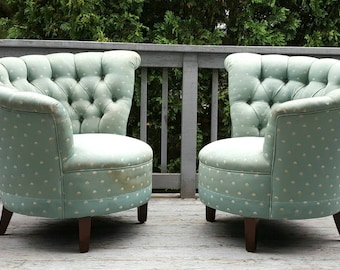 Pair of Hollywood Regency Scalloped Asymmetrical Lounge Chairs C. 1960