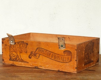 Antique french wooden box - cat pattern for advertisement - early 1900's -
