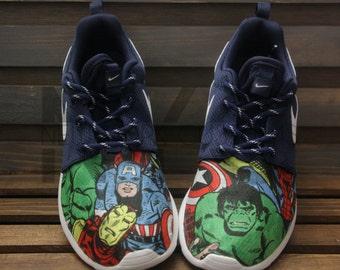 Marvel Avengers Nike Roshe Run Navy Comic Superheroes V5 Custom