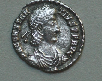 Culture of Roman Coins, Constantius II AR Siliqua. Siscia, AD 350 Pearl-diademed, nero, rulers, currency, ancient coin, roman coin
