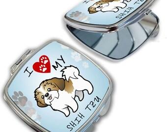 I Love My Shih Tzu Dog Lover Compact Mirror