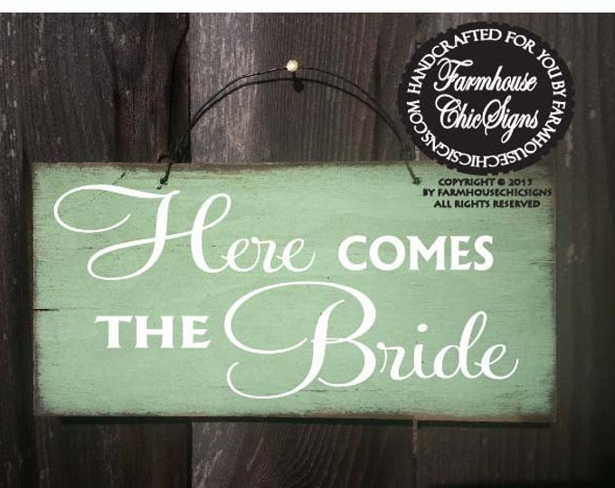 Here Comes The Bride Sign, wedding sign, rustic wedding, wedding decor, flower girl sign, 146/74