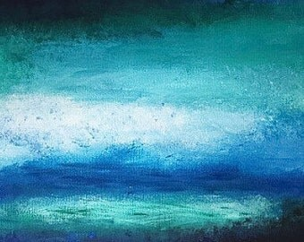 Painting wall art acrylic canvas sea waves water