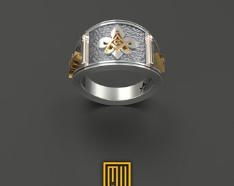 Cigar Band style Masonic Ring With Fleur De Lis Unique Design for Men 925K Sterling Silver With 14k Rose Gold, Bronze and Silver tools