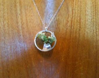 Handmade sterling silver Tree of Life Pendant with Aventurine