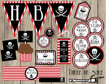 Pirate Birthday Party Package. Instant Digital Download. Incl Pirate Banners, Signs, Cupcake Toppers, Party Favor Tags, Pirate Gear & more!