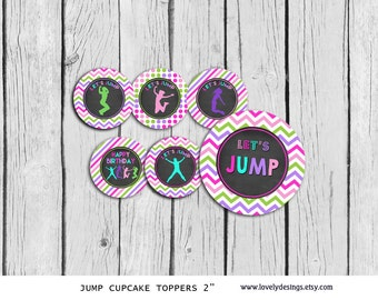 Jump Cupcake Toppers ,Jump Girls Party Printable, Jump Bounce House  DIY, INSTANT DOWNLOAD Printable,Bounce house toppers,Trampoline toppers
