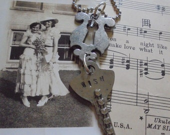 Vintage key and keyhole necklace hand stamped Wish