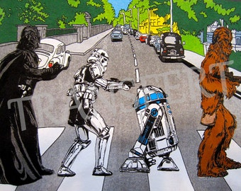 DIGITAL COLLAGE / transfer Beatles Abbey Road Star Wars.. .to print