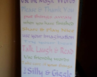 Playroom rules painted sign