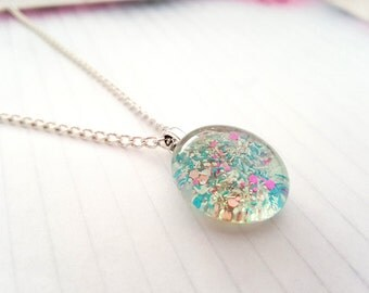 Pink & Blue Confetti Fairy Stone Pendant Necklace - Summer Fun Jewelry - Bright Colors - Glass Stone Charm - Minimalist Necklace -