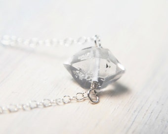 Herkimer Diamond Necklace, Herkimer Jewelry, Simple Necklace, Small Pendant, Tiny Jewelry