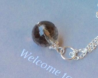 Smoky Quartz Pendant, Smoky Quartz Necklace, Faceted Round Smoky Quartz , sterling silver, smoky gemstone, natural gemstone