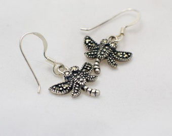 Dragonfly Marcasite Sterling Silver Earrings